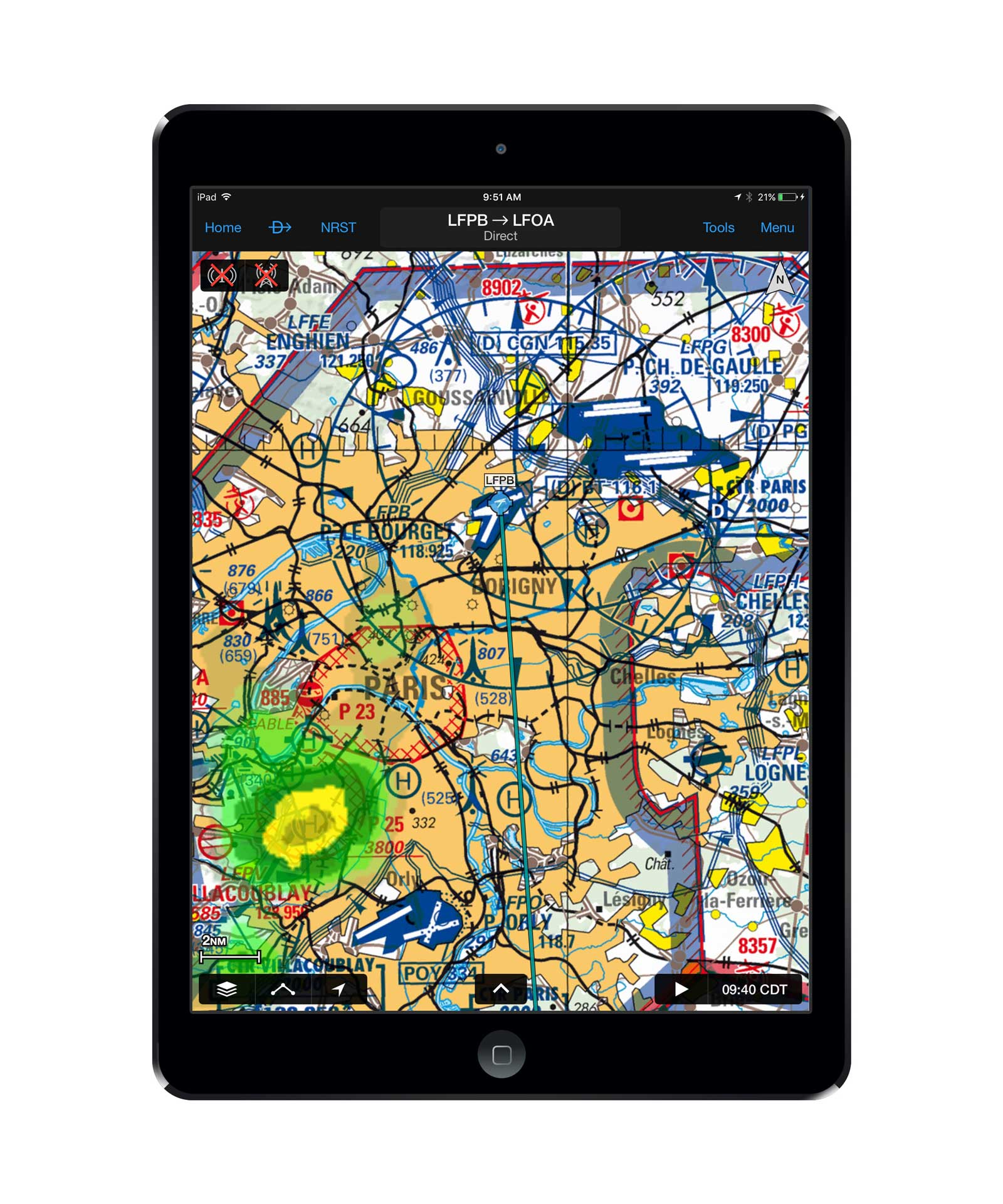 VFR charts of France have now joined UK charts available for the Garmin Pilot app.