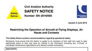 CAA Safety Notice displays