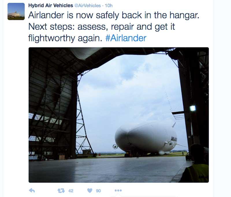Airlander crash tweet
