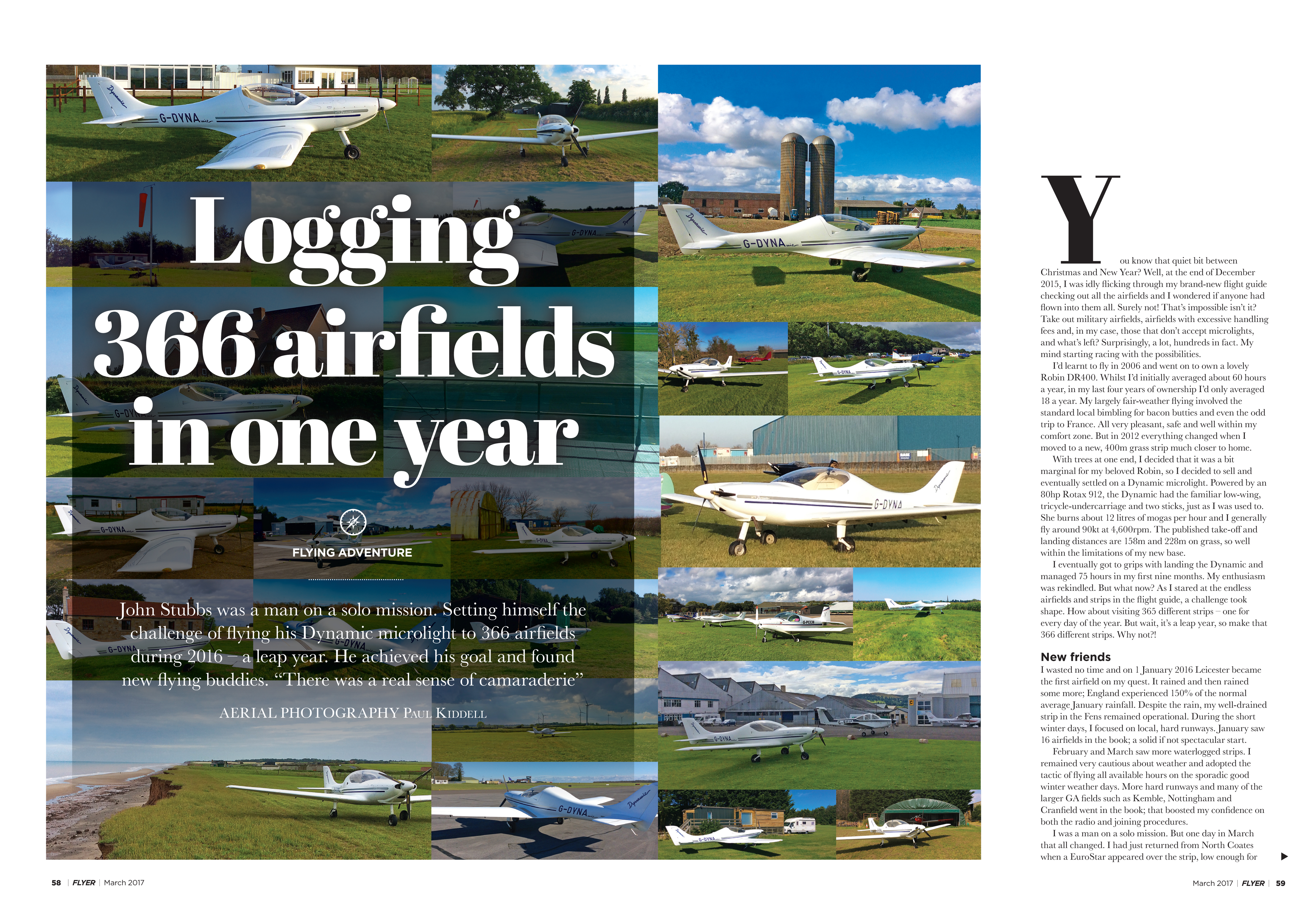 Flyer flying adventure airfields in one year