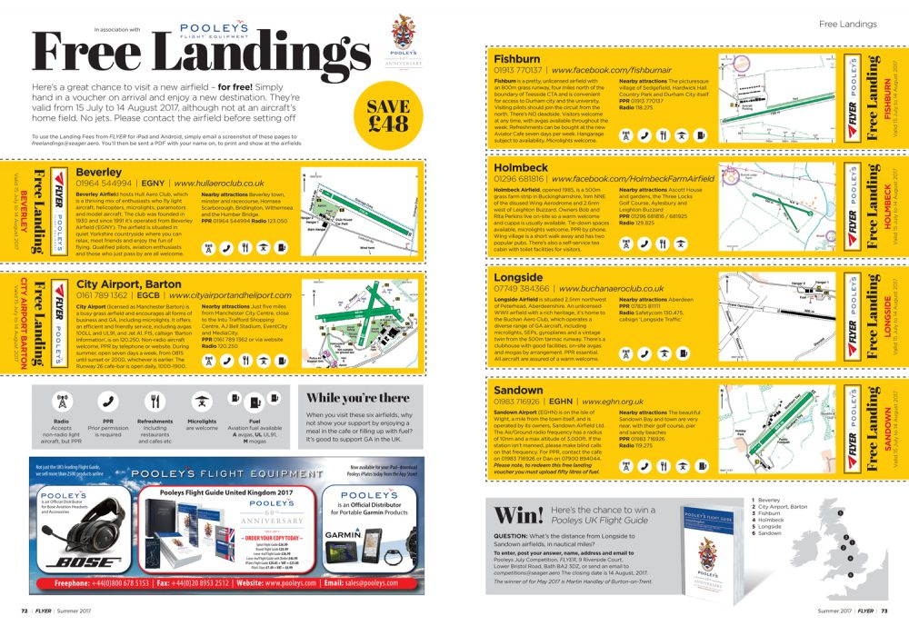 Free landings Flyer summer 2017