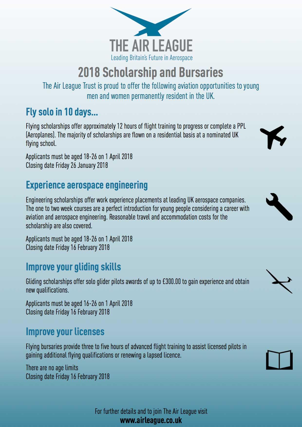 Air League flying scholarships