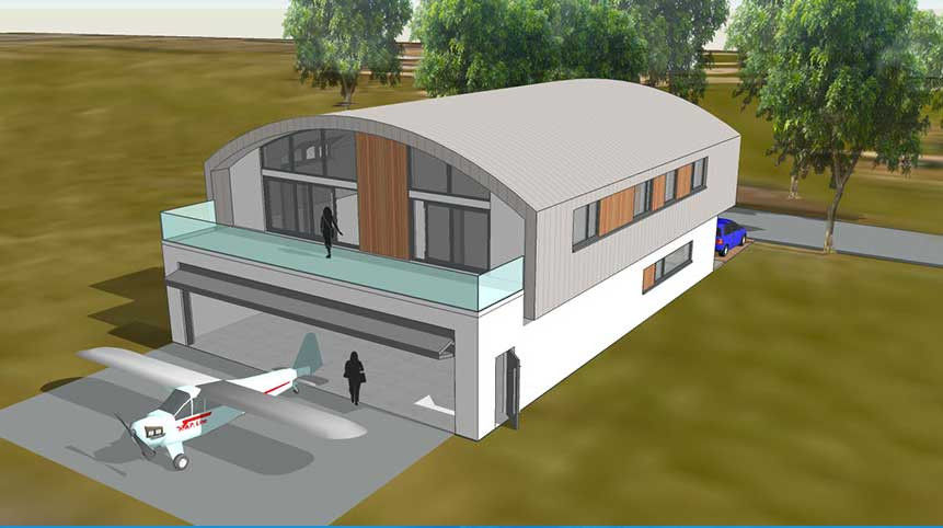 Hangar homes submits plans for solent airport flyer for Hangar home plans