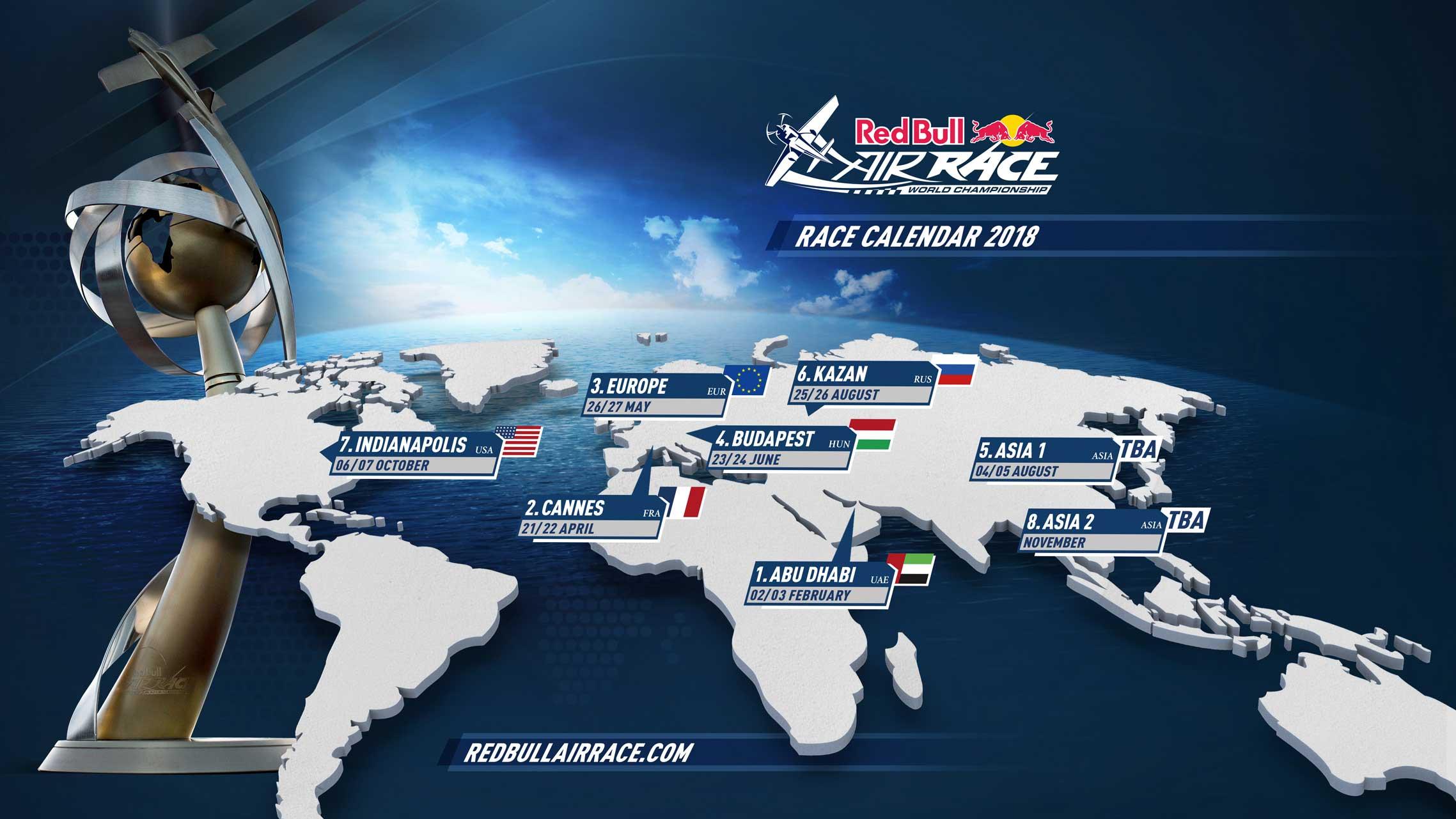 Red Bull Air Race 2018 calendar