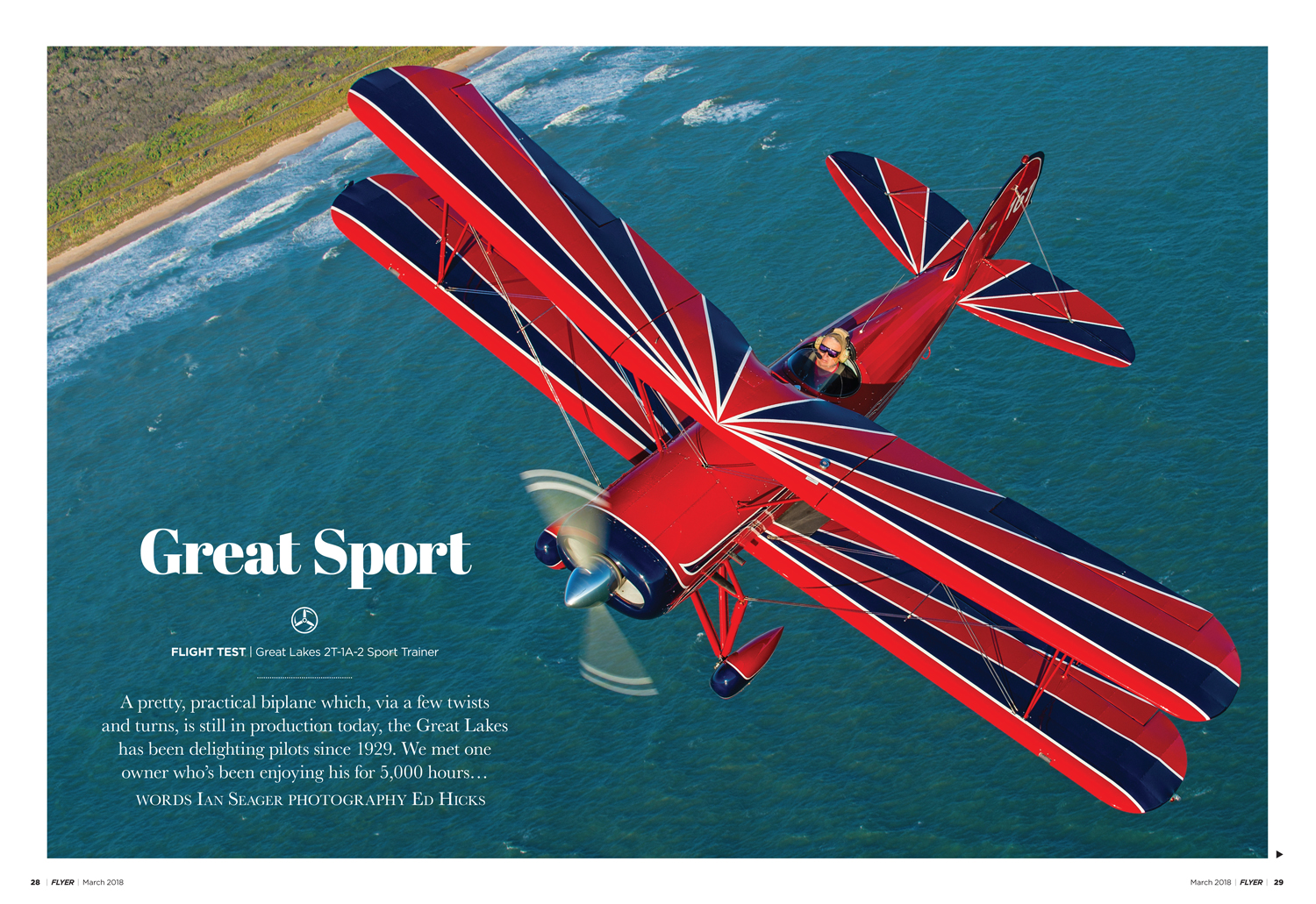 FLYER March 2018 Great Lakes biplane