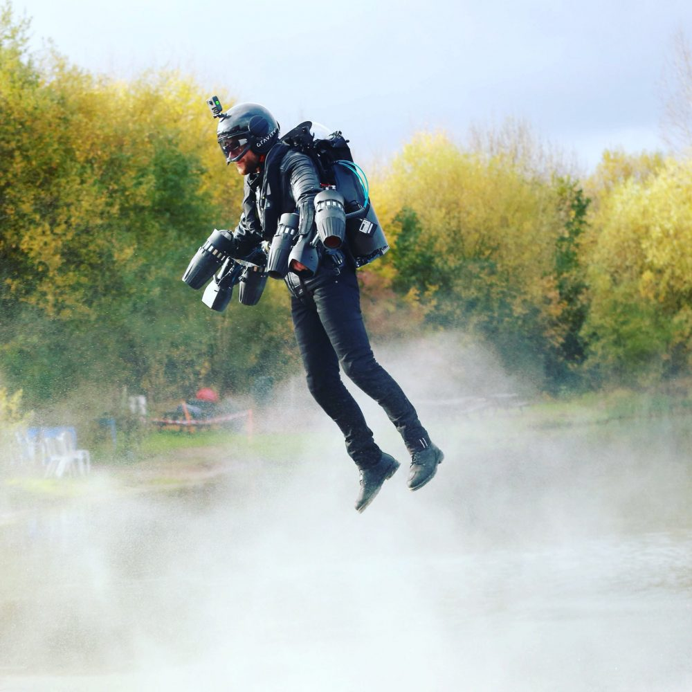 real life iron man richard browning  fly  farnborough show flyer
