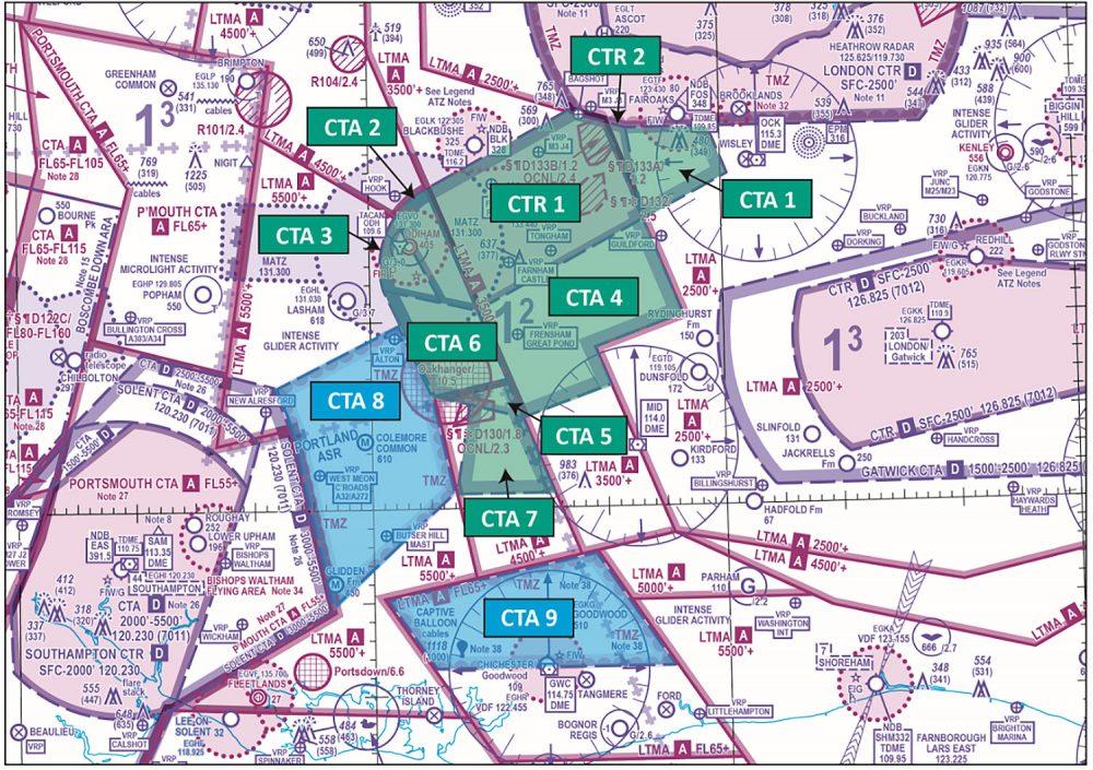 Farnborough controlled airspace