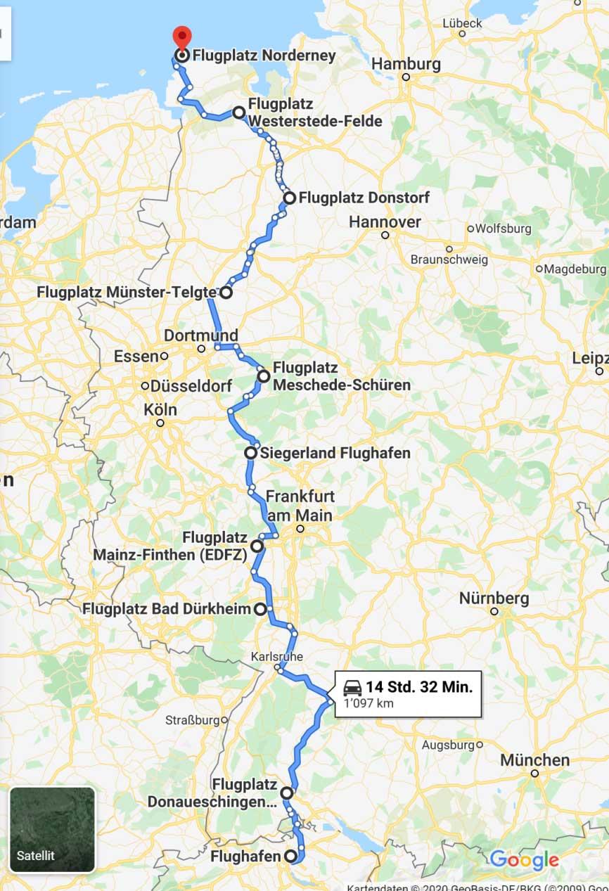 Pipistrel world records route
