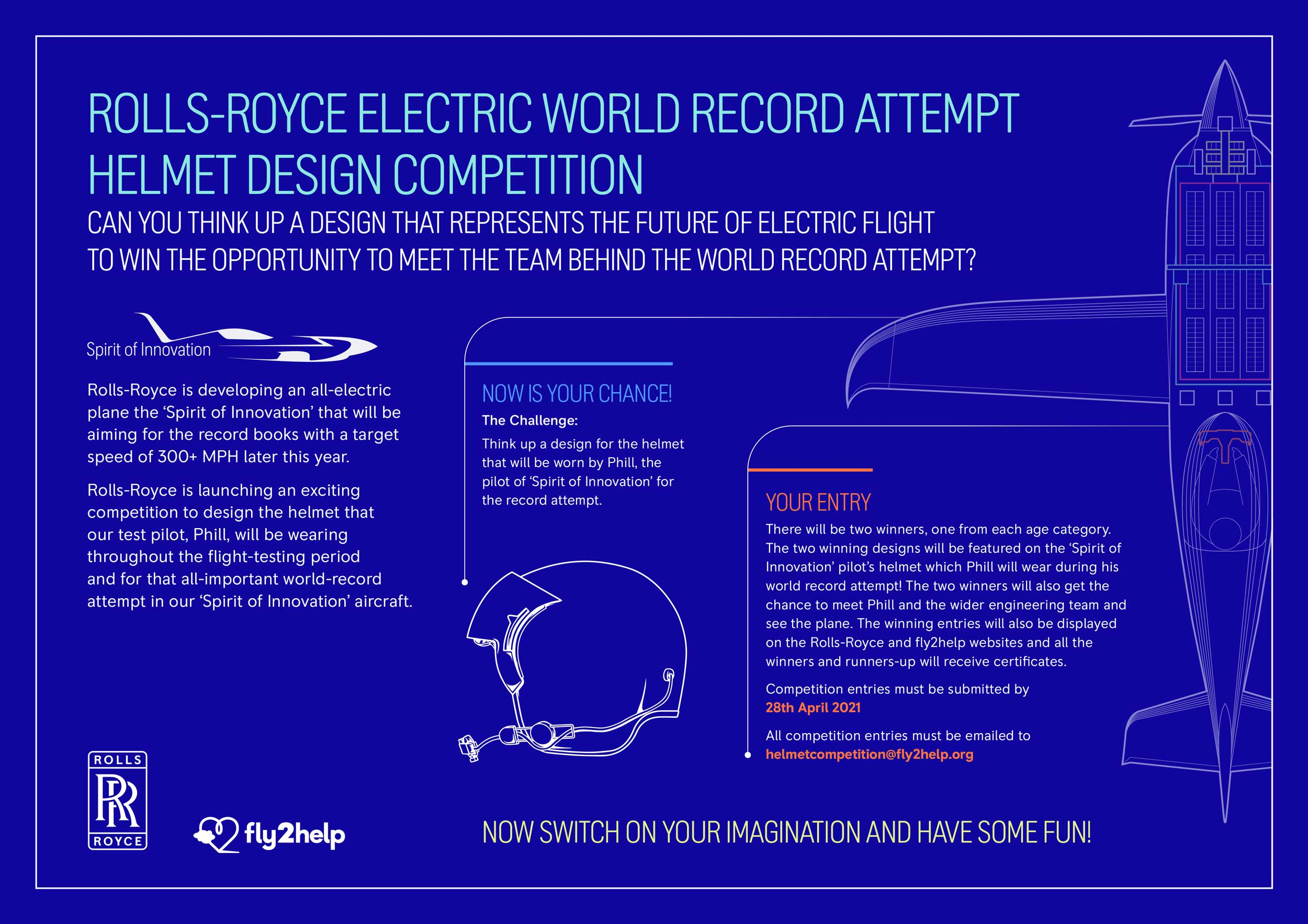 Design POD's helmet for the Rolls-Royce electric aircraft speed record bid