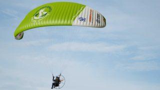 Sacha Dench electric paramotor flight around UK